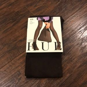 Hue Dark Brown Opaque Tights Size 4 Plus